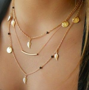 Gold Multilayered Bar Necklace Feather Pendants